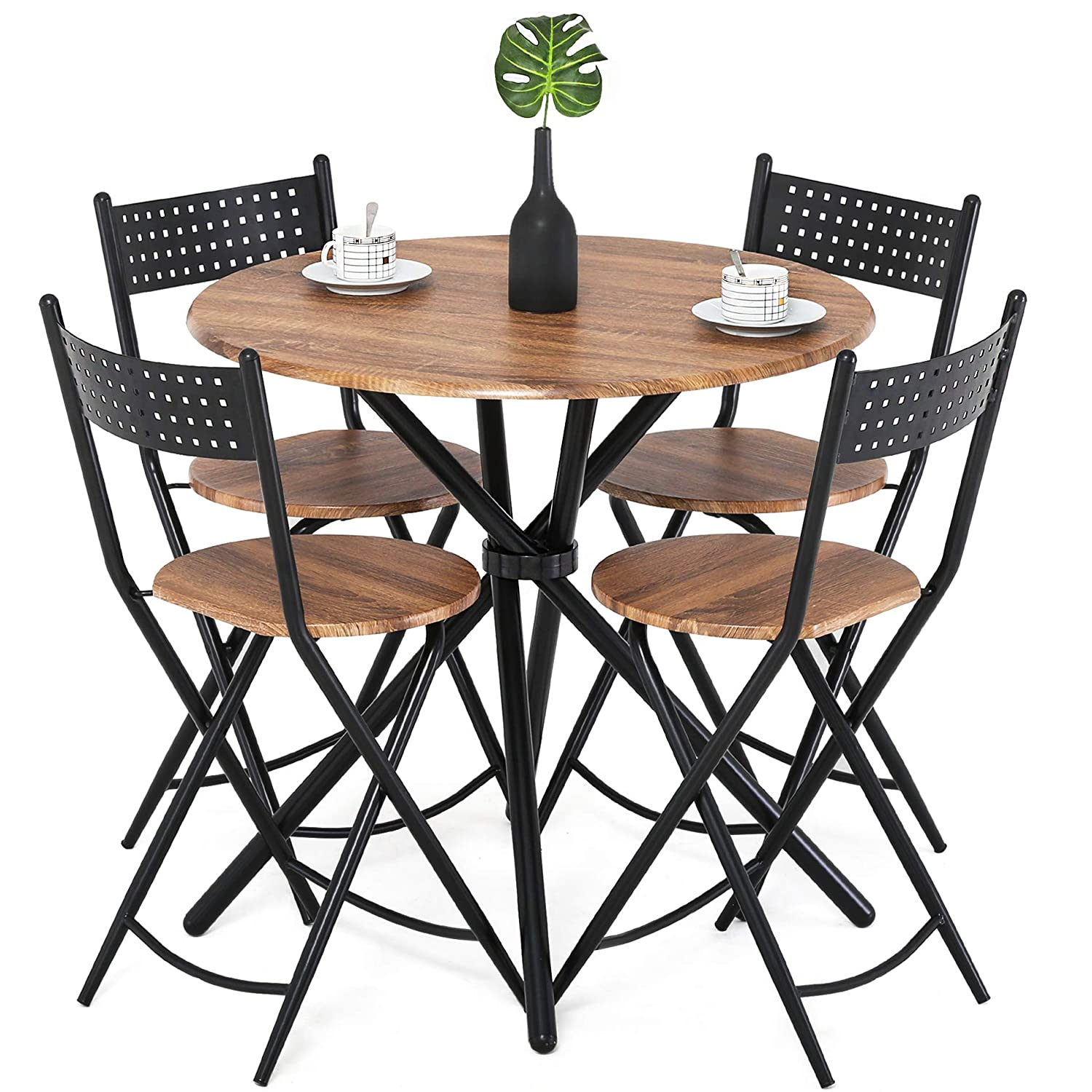Homury 5pcs Dining Table Set Kitchen Table Kitchen Furniture Round Dining  Table with 4 Round Dining Chair Dining Set Wood Coffee Table Set Home  Office ...