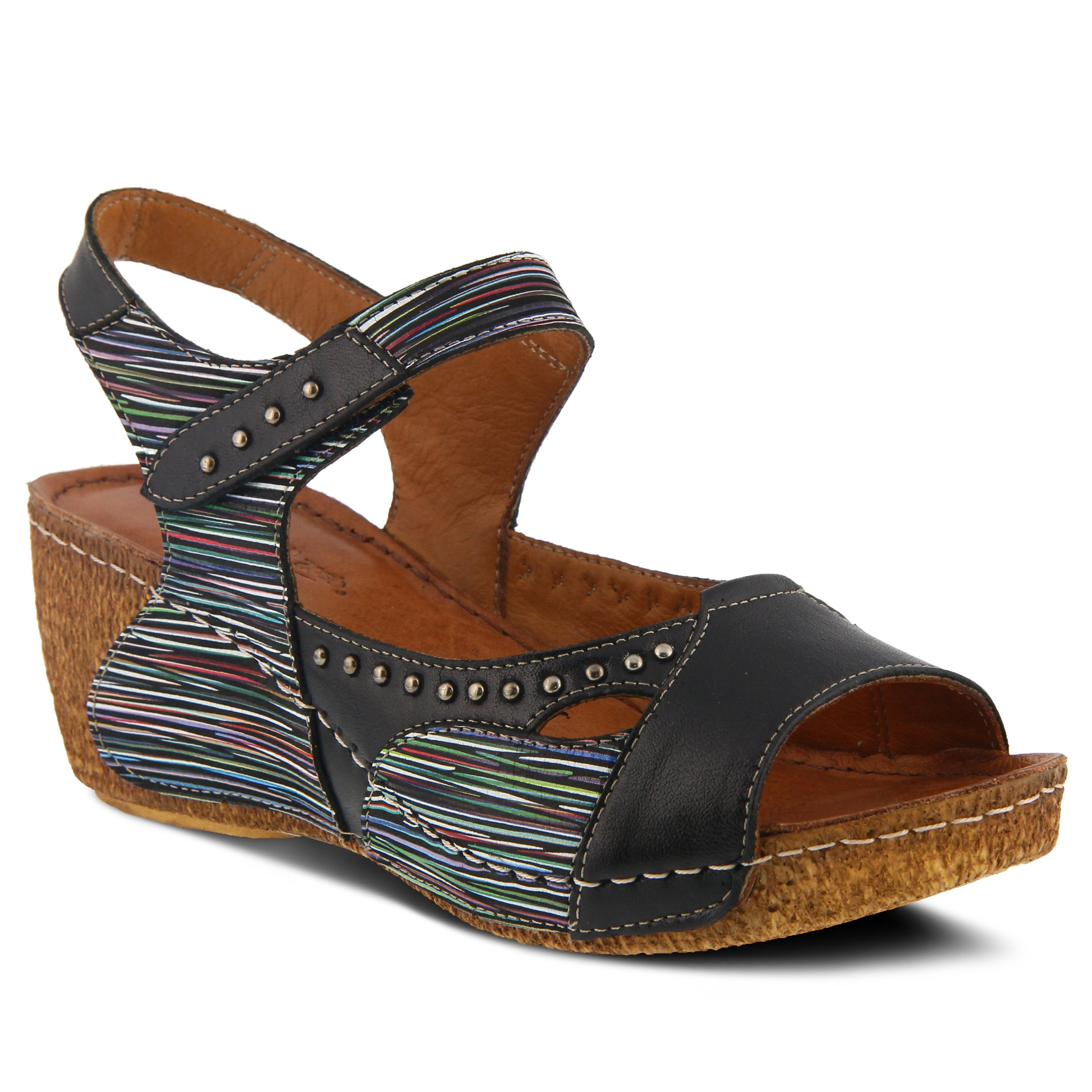 Spring Step Women's Style Jaslyn Black Multi EURO Size 39 Leather Slide Sandal by Spring Step