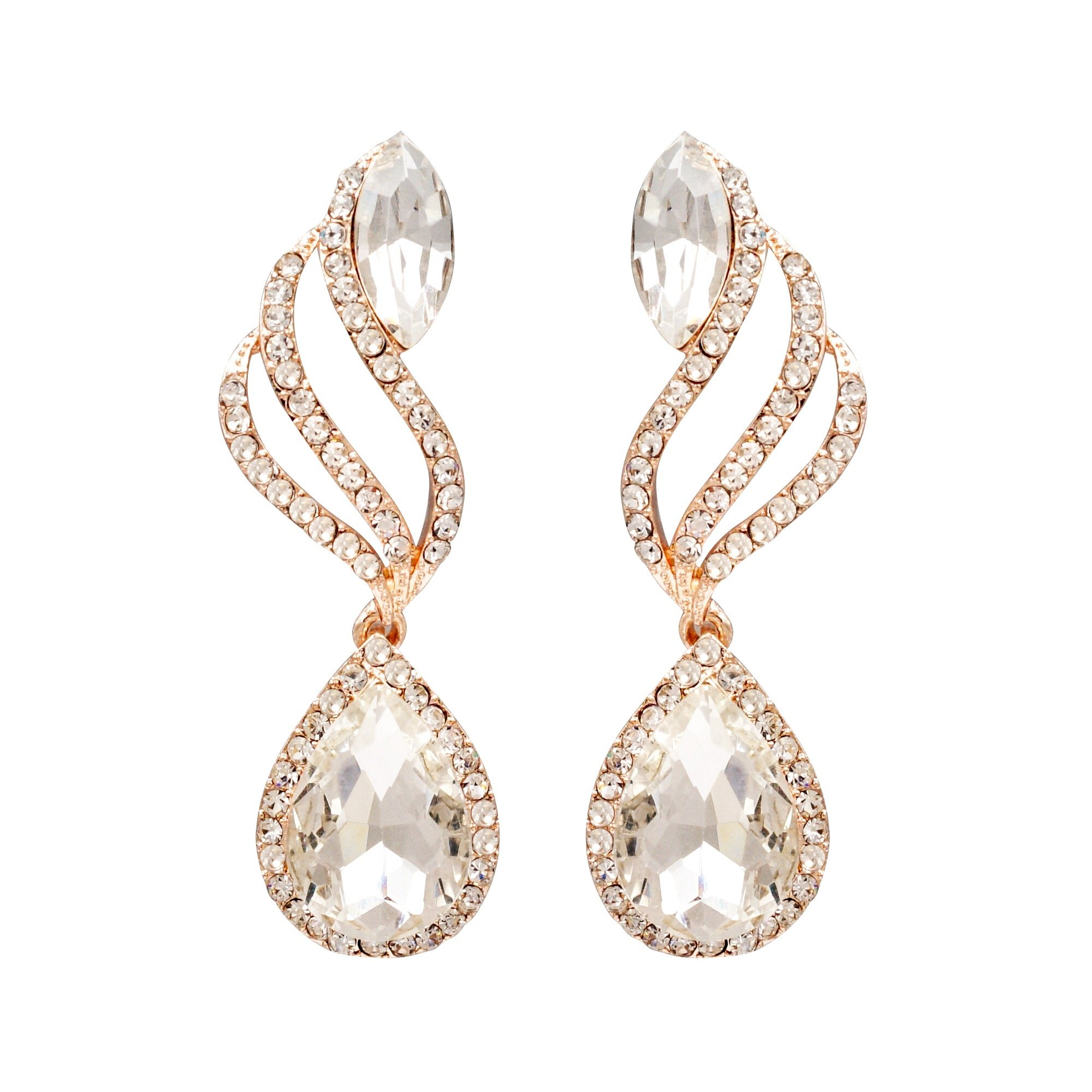 Iris Island Rose Gold Plated Clear Crystal Teardrop Rhinestone Dangle Earrings Wedding