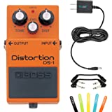 Boss DS-1 Distortion Guitar Effects Pedal -INCLUDES- Blucoil Power Supply Slim AC/DC Adapter for 9 Volt DC 670mA, 5 Pack of Cable Ties AND 2 Hosa 6-inch Molded Right-Angle Patch Cables