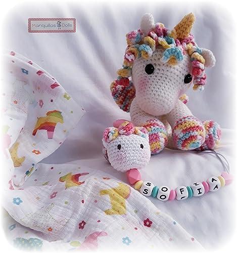 PERSONALIZA tu CANASTILLA de Nacimiento desde 39,90€ PELUCHE Unicornio+CHUPETERO Crochet Personalizado