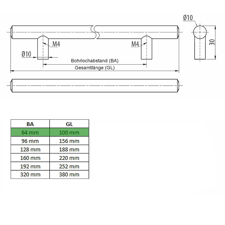 SO-TECH/® G14 M/öbelgriff echt Edelstahl massiv BA 192 mm /Ø 10 mm Stangengriff