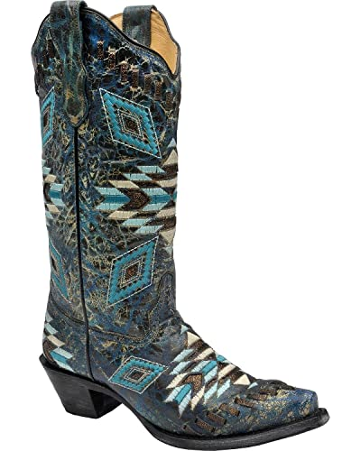 cc2fdb7fef3 Amazon.com | CORRAL Women's Distressed Turquoise Aztec Woven Cowgirl ...