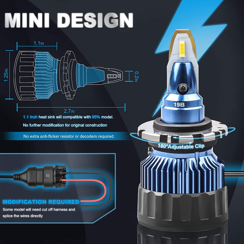 MOSTPLUS 7800LM 60W//Pair-All-in-One 6000K Led D2S//D2H//D2C bulb-TX1860 Chip High Focus Mini Conversion Kit Three Years Warranty