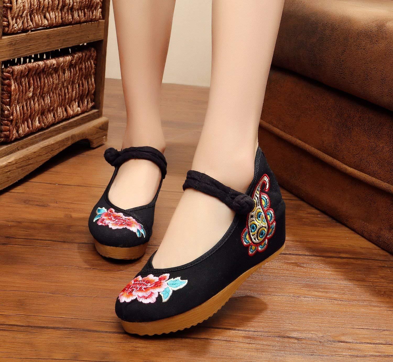 Fuxitoggo Bestickte Schuhe Leinen Sehnensohle Ethno-Stil Erhöhte Damenschuhe Mode bequem lässig schwarz 40 (Farbe   - Größe   -)