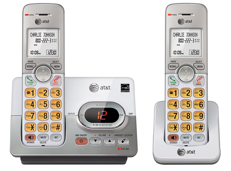 ATT DECT 6.0 2 Cordless Phones with Caller ID, ITAD, Handset Speakerphones, White and Grey - EL52203 VTech Canada