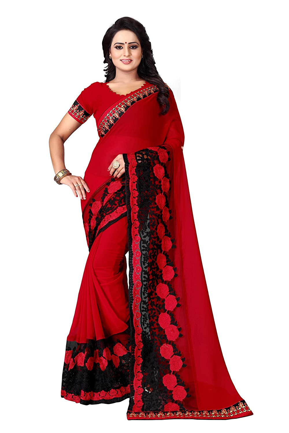Amiira Women's Georgette Saree With Blouse Piece (Red)