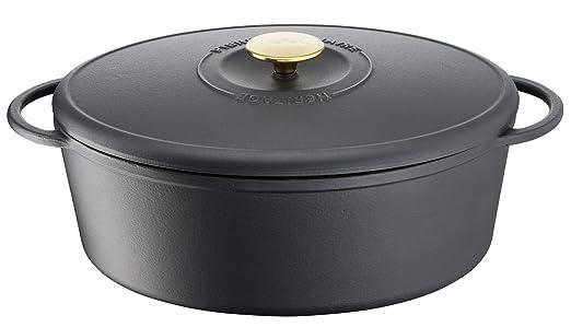Tefal Heritage Cacerola Oval 34x26 cm, Hierro Fundido,7,2 litros, Tapa potenciadora de condensación, retención del Calor, Fuego Lento, guisos, ...