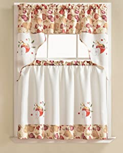 RT Designers Collection Tier and Valance Urban Embroidered Tier & Valance Kitchen Curtain Set -, Apple