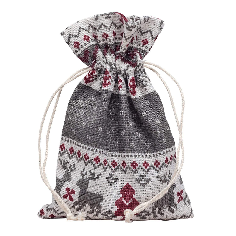 10 Stück Hochwertige Baumwoll Säckchen Beutel Beutelchen Schmuckbeutel Weihnachtsmotiv Weihnachten für Schmuck Geschenk Schmuckboerse24 SB300