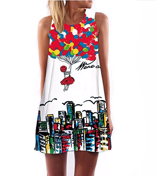 Summer Women O-Neck Sleeveless Dresses Heart-Shaped Love Printed Fashion Loose-Fitting