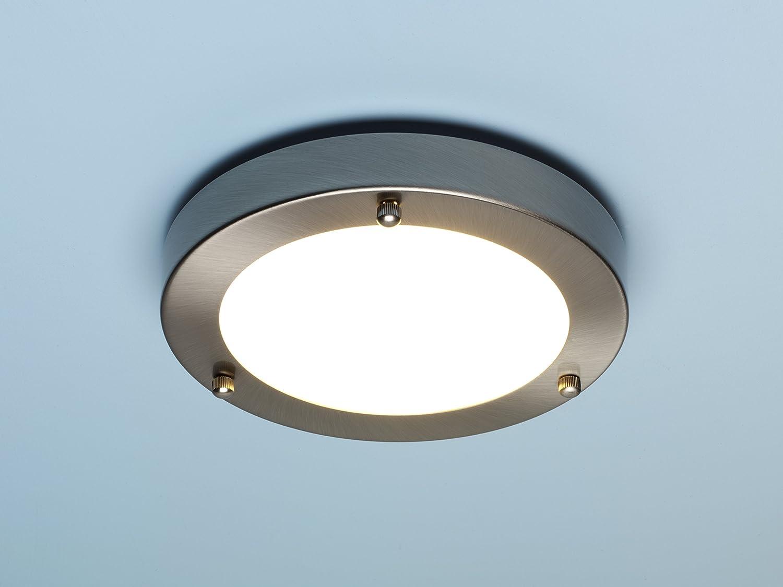 Modern Silver Chrome and Glass Flush Mini Bathroom Ceiling Light IP44 Rated