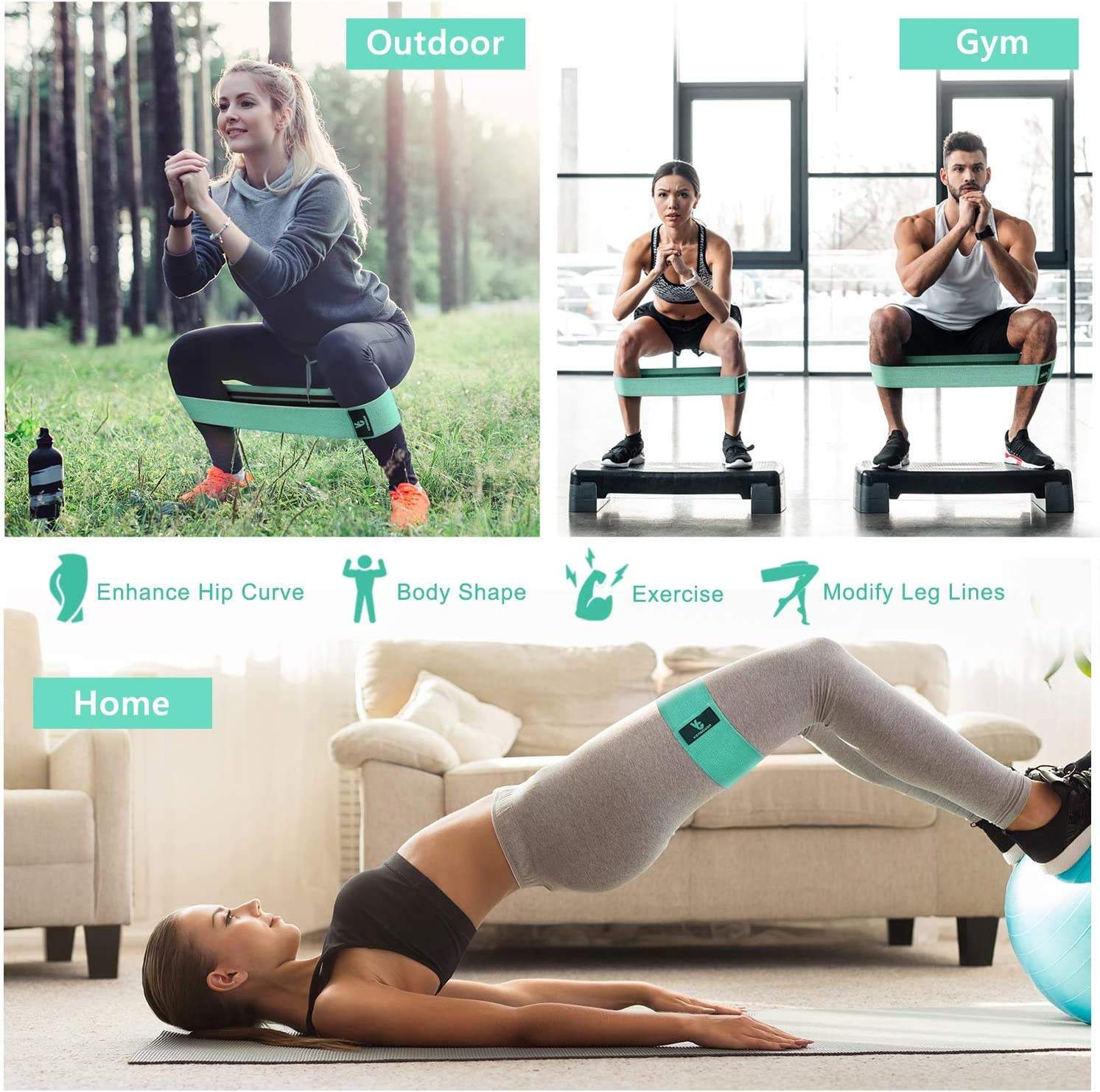 Exercise Bands for Women Hip Glutes Circle Workout Bands Wide Fitness Bands for Squats Training Vinsguir Fabric Resistance Bands for Legs and Butt Legs and Thigh Shaping