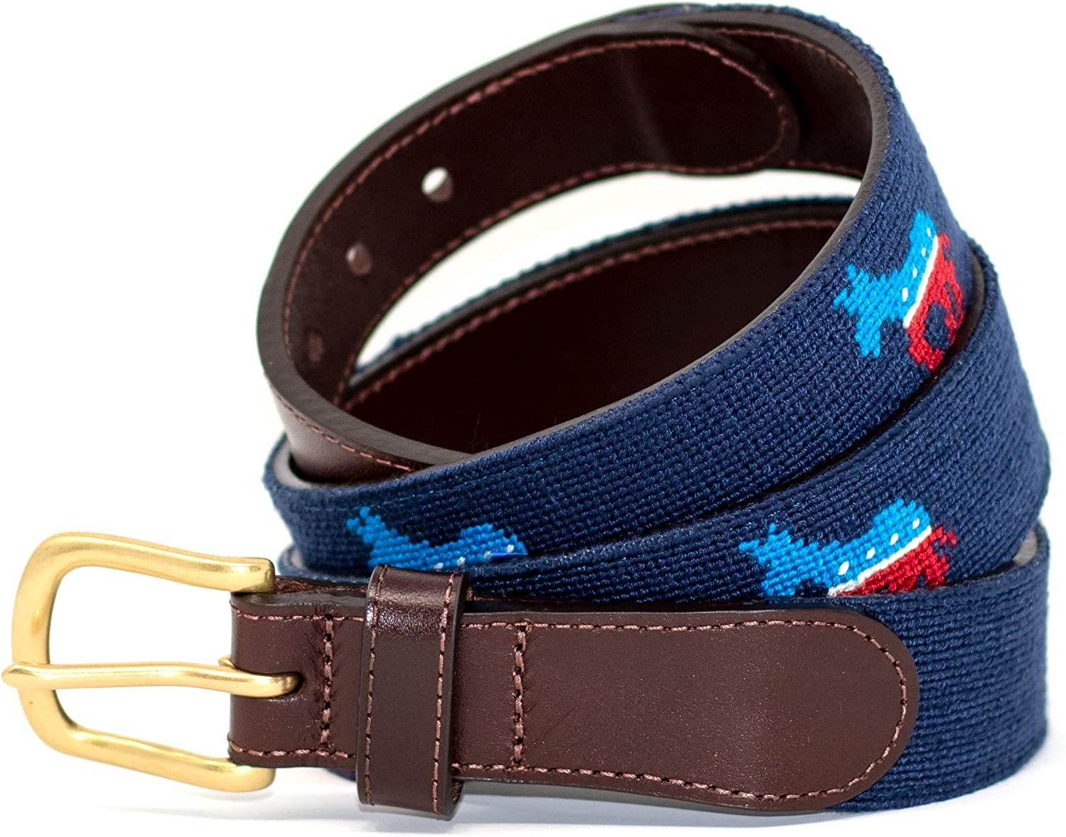 Needlepoint Belts for Men Handmade w//Cotton on Full Grain Leather Backing /& Solid Brass Buckle