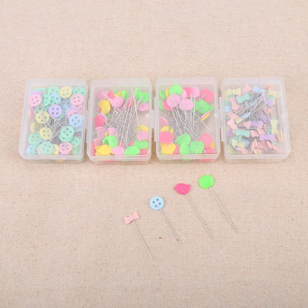 Type 1 Pack of 300 Pcs Head Pins Flower or Bear Flat Button Head Pins DIY Quilting Tool Sewing Accessories