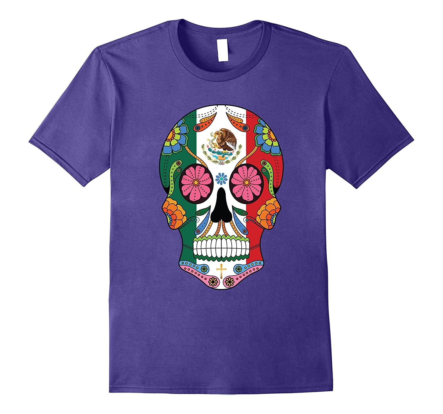 Mexican Flag Sugar Skull T-Shirt Halloween Day Of The Dead-FL