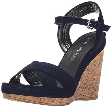 85155a3e8 Stuart Weitzman Women's Minky Wedge Sandal, Nice Blue, 10 M US: Buy ...