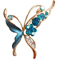 Navachi 18k Gold Plated Enamel Crystal Butterfly Brooch Pins