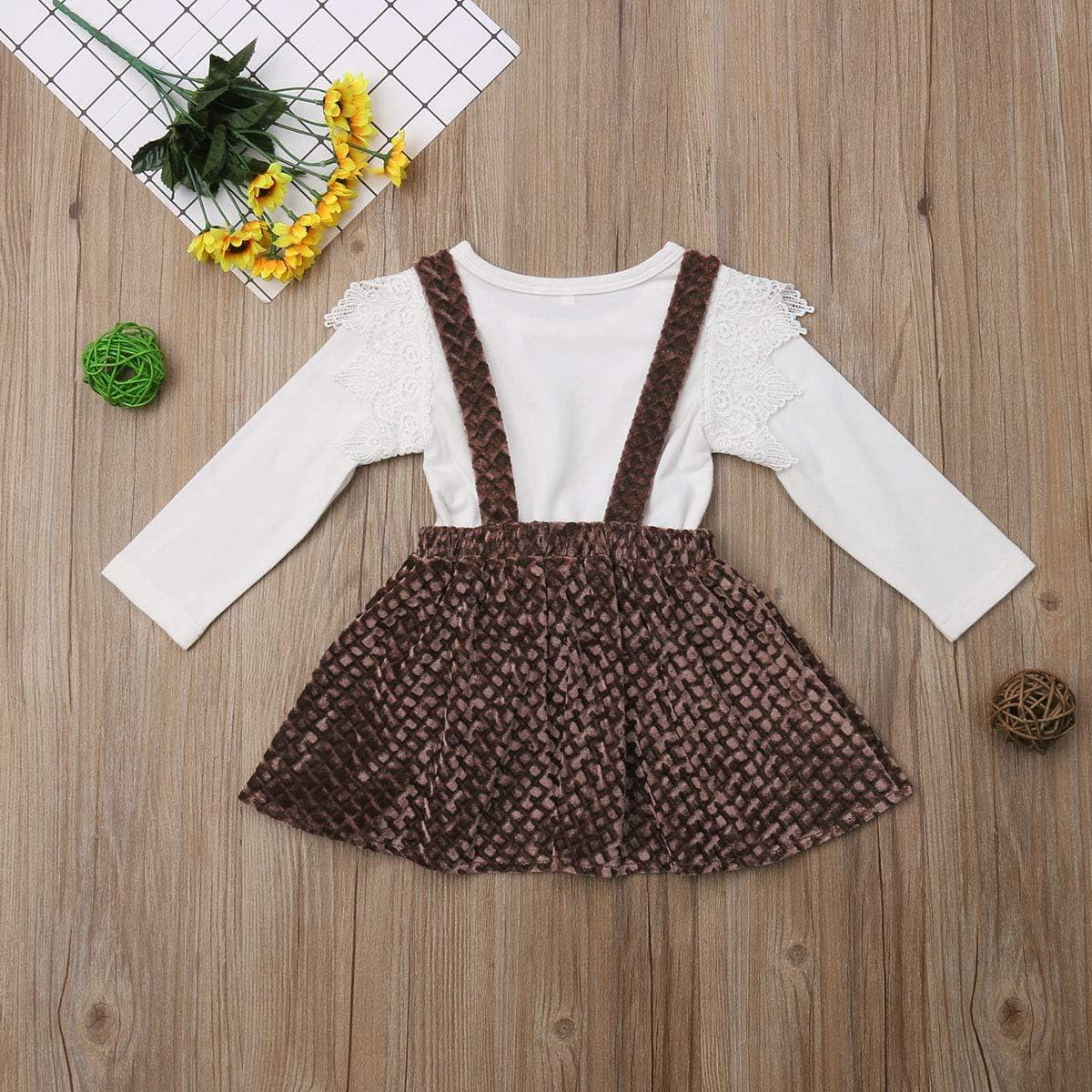 Mericiny 1-6T Little Girls Ruffle Lace Shirt Velvet Suspender Skirt 2PCS Outfits