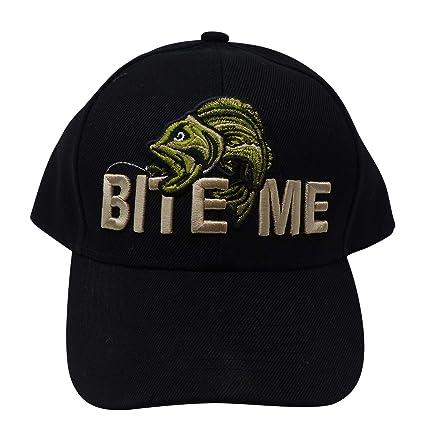 fe9c059002b Amazon.com   Outdoor Fishing Hat - Funny Fishing Gift for Men - Bite ...