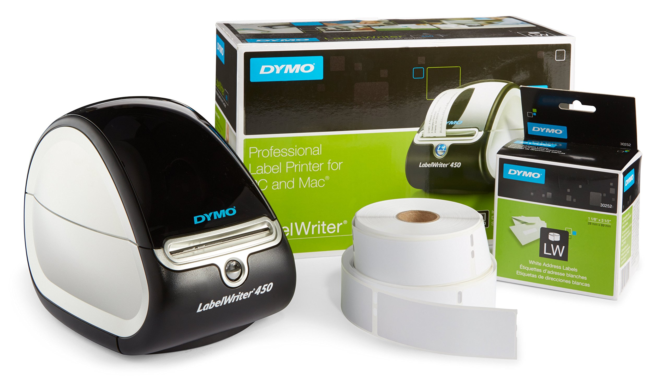 DYMO LabelWriter 450 Thermal Label Printer with 1 extra roll of 350 White Mailing Address Labels
