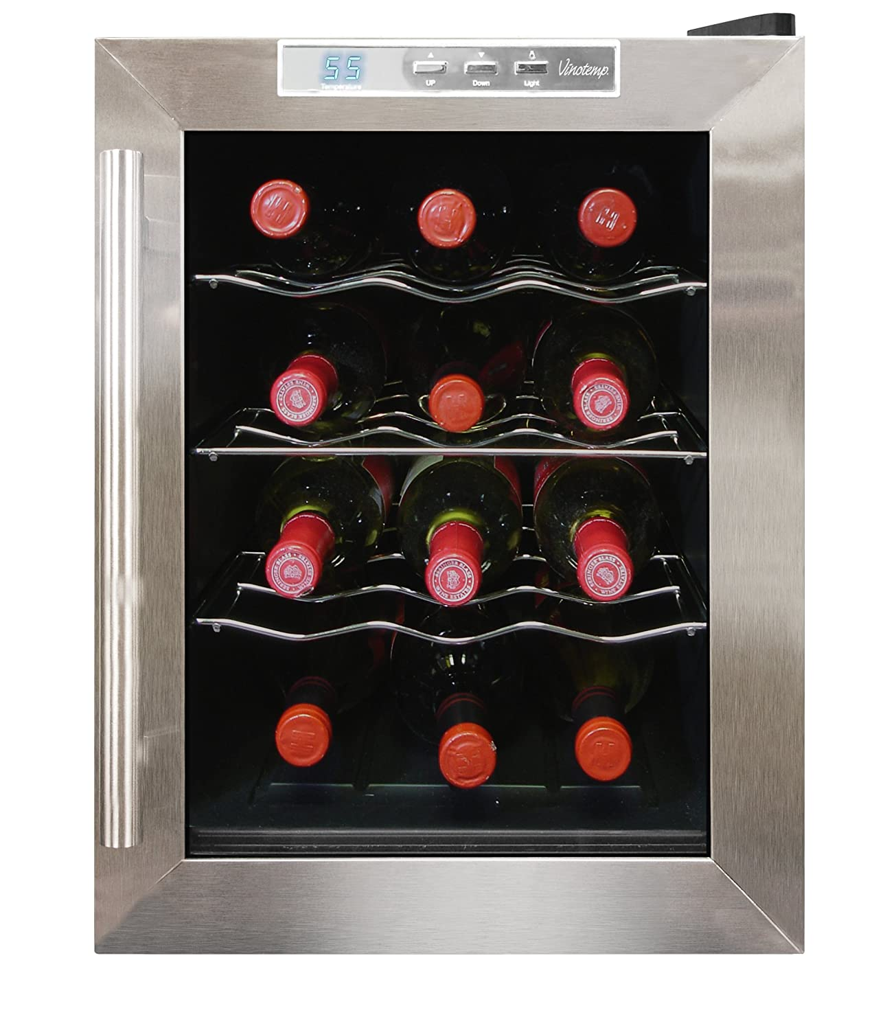 Amazon.com: Vinotemp VT-12TEDS Thermo-Electric Digital 12-Bottle Wine  Chiller, Black and Stainless: Appliances