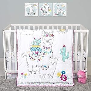 Sammy & Lou 4 Piece Crib Bedding Set, Llama Mama
