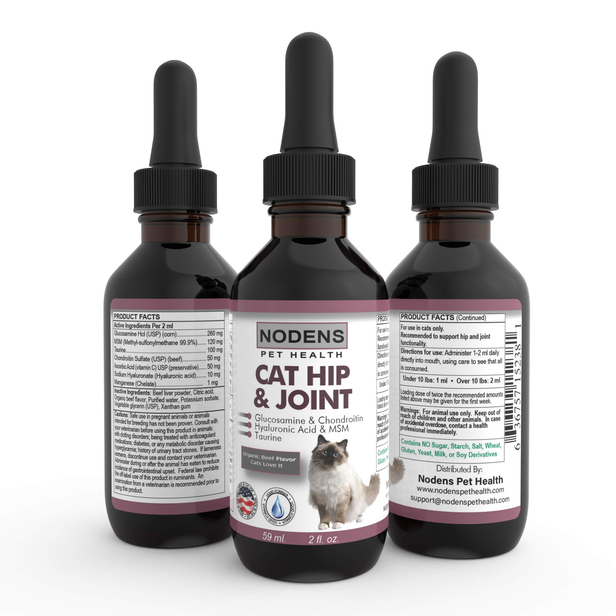 NODENS CAT Hip and Joint Glucosamine for Cats with Chondroitin and Opti-MSM Hyaluronic Acid for Improved Joint Flexibility and Pain Relief from Inflammation and Arthritis 2 floz by NODENS® - Pet Health