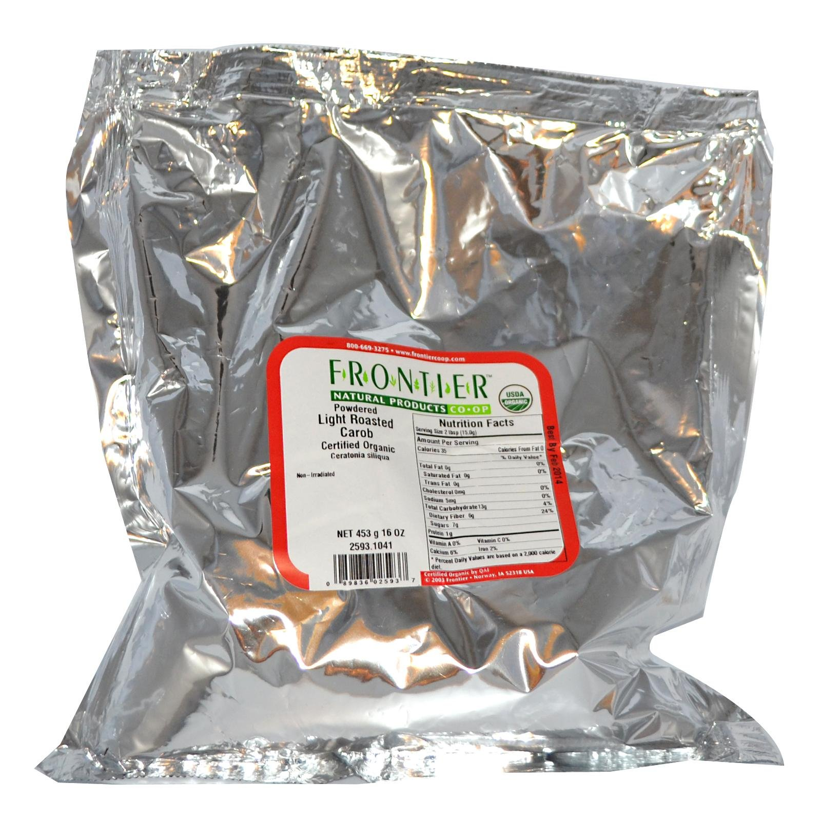 Organic Powdered Light Roasted Carob 16 Ounce (453 grams) Pkg by Frontier