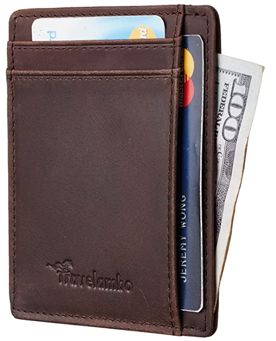 Travelambo Rfid Front Pocket Minimalist Slim Wallet Genuine Leather Small Size by Travelambo