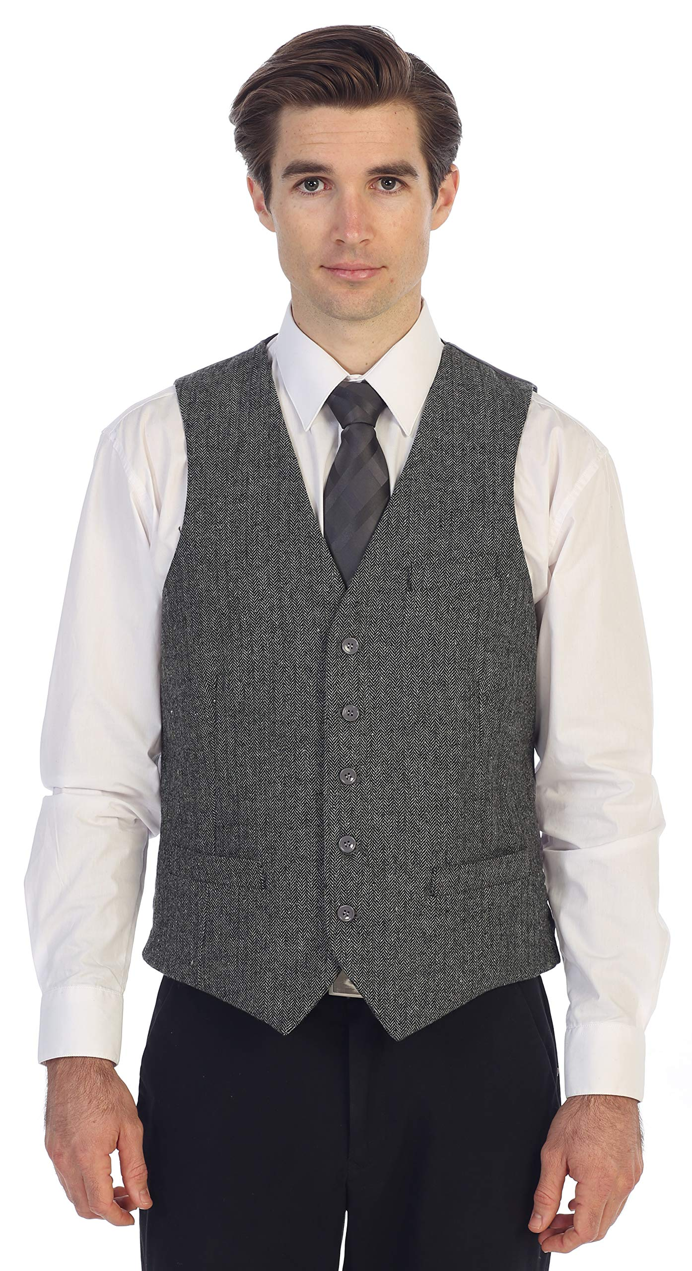 Gioberti Men's 5 Button Slim Fit Formal Herringbone Tweed Suit Vest, Gray Herringbone, Large by Gioberti