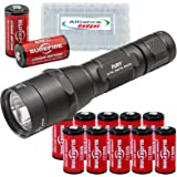 SureFire P2X Fury LED Flashlight Dual Output 600 Lumens with 12x EXTRA Surefire CR123A Batteries and 3 Alliance Gadget Battery Cases