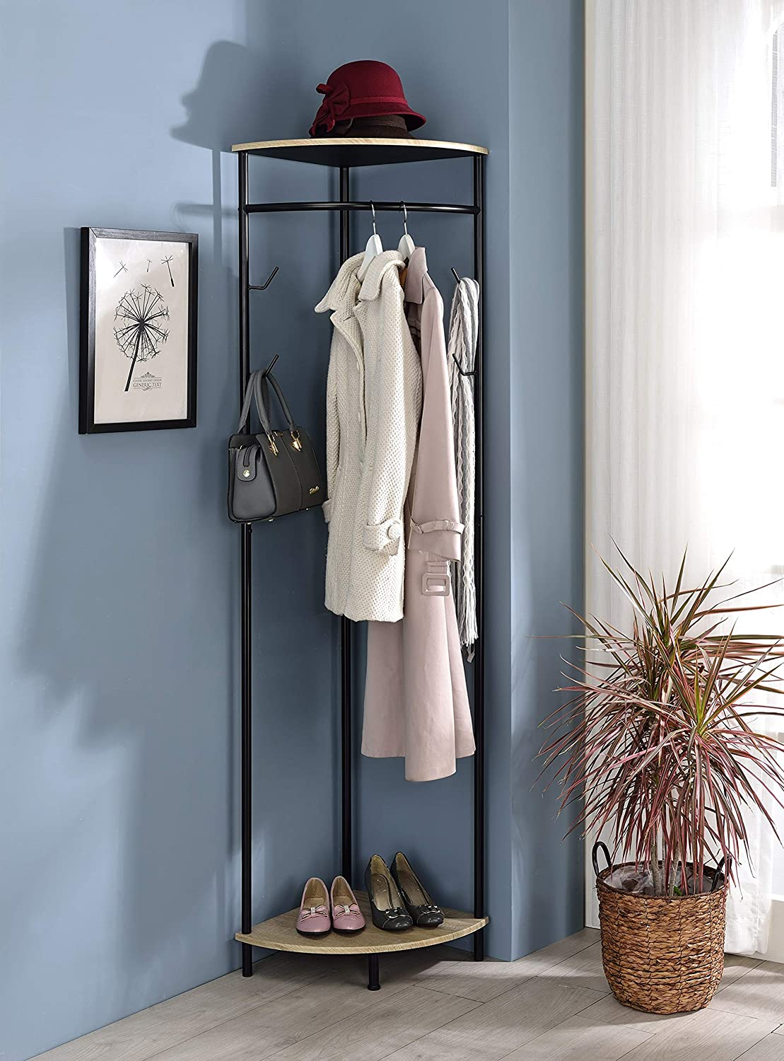 Kings Brand Furniture - Pasmore Corner Hall Tree Coat Rack with Shelf & Storage