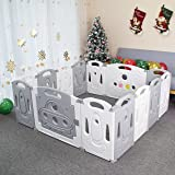 Foldable Baby playpen Baby Folding Play Pen Kids Activity Centre Safety Play Yard Home Indoor Outdoor New Pen (Gery)