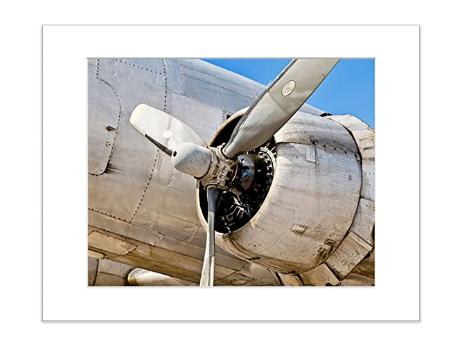 Airplane Wall Art Historic Military Aviation Propeller Office Decor 5x7  Inch Matted Print