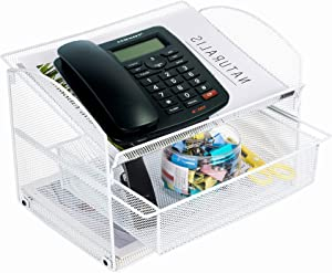 VANRA Metal Mesh Desktop Organizer Telephone Stand Phone Stand File Sorter Desk File Tray Organize File Folder Holder with Drawer (White)