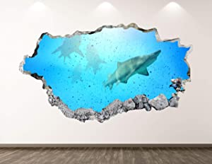 """West Mountain Shark Fish Wall Decal Art Decor 3D Smashed Underwater Animal Sticker Poster Kids Room Mural Custom Gift BL219 (22"""" W x 14"""" H)"""