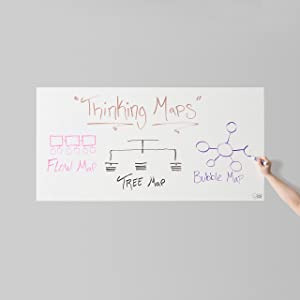 Think Board Whiteboard Wall Sticker – Self-Adhesive White Medium Peel & Stick Decal – Dry Erase Removable Message Board for Home, Office & Dorms – Great for Organizing & Brainstorming– 2' x 4'