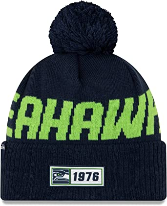 100% top quality best shop best sellers Amazon.com: New Era 2019 NFL Seattle Seahawks Cuff Knit Hat Road ...