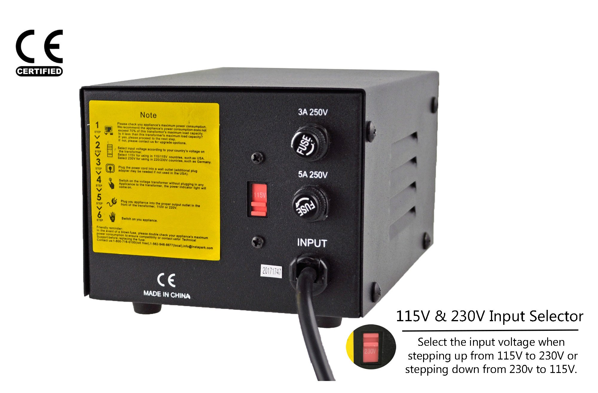Instapark ITU-500 Voltage Converter: AC 110V / 220V 500W Step-up and Step-Down AC Voltage Transformer with Maximum Load Capacity (MLC) - 500 Watts by Instapark (Image #2)