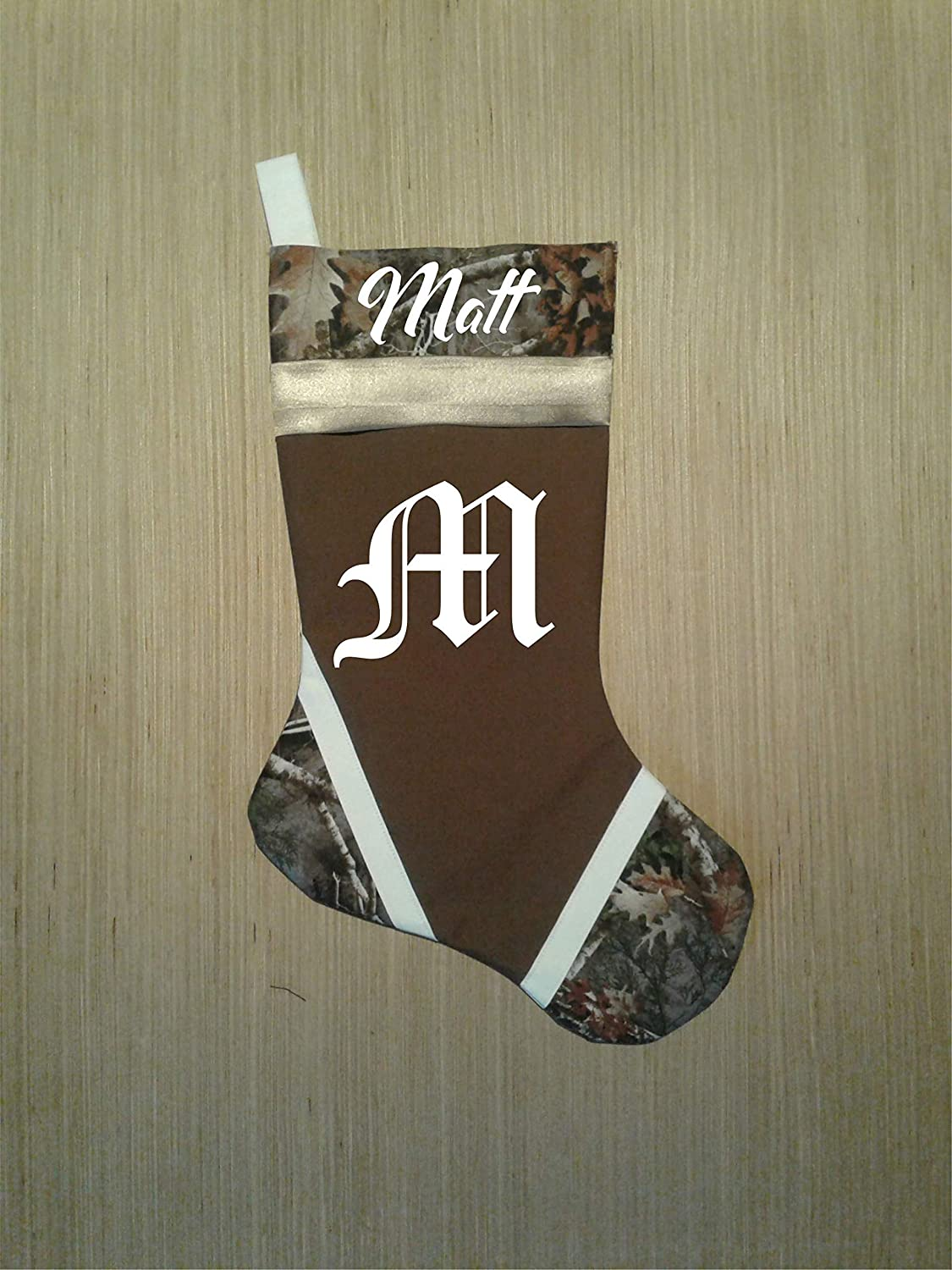 Camouflage Brown Personalized Christmas Stocking