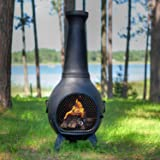 The Blue Rooster Co. Prairie Style Cast Aluminum Wood Burning Chiminea in Charcoal.