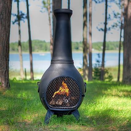 Prairie Style Cast Aluminum Wood Burning Chiminea In Charcoal.