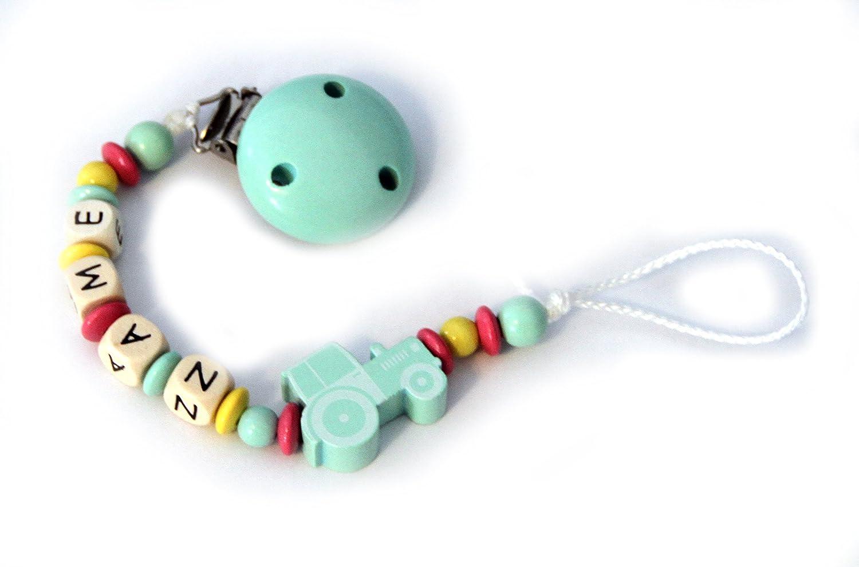 Baby sucette avec perles en bois et d/ésir name Menthe Pastel Tracteur