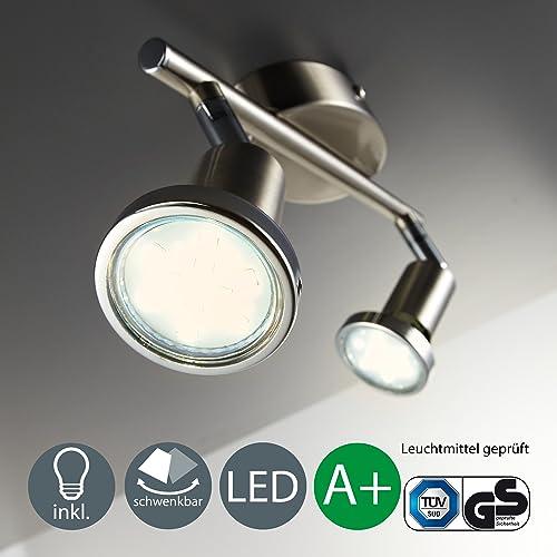 B.K. Licht plafonnier led, spots plafond orientables, éclairage plafond LED cuisine chambre salon, blanc chaud, 230V, GU10, IP20, 2x3W