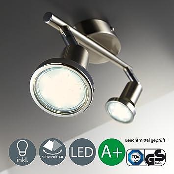 Lámpara de techo I Foco LED para techo y pared I Orientable I Incluye 2 bombillas