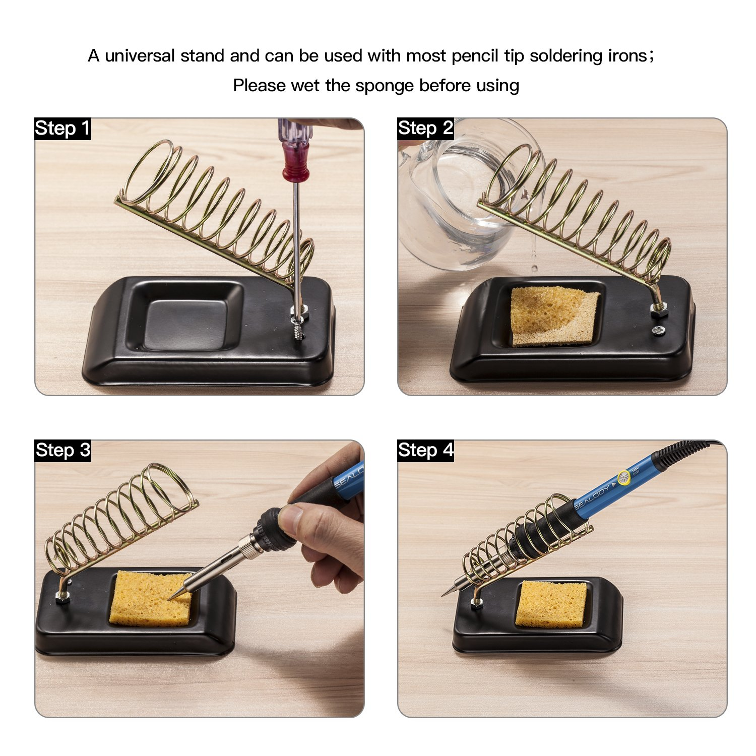 Soldering Iron Kit, Including 60W Temperature Control Soldering Iron with ON/OFF Switch, Tips, Solder Sucker, Desoldering Wick, Solder Wire, Anti-static Tweezers and Stand with Cleaning Sponge