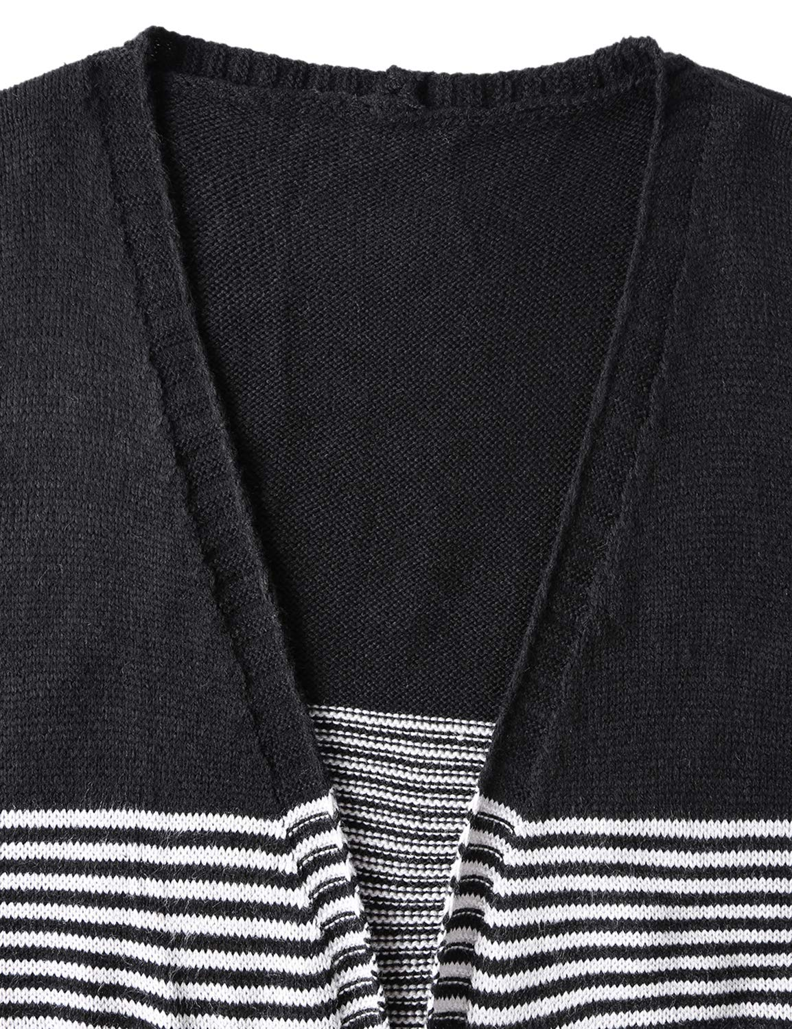 Blooming Jelly Ladies Striped Open Front Longline Black Knit Sweater Cardigans for Women with Pocket and Ribbed Hem,Black S