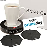 """Electric Personal Coffee Mug & Beverage Warmer, 3.87"""" Diameter with 2 Bonus Drink Covers :: Large Heat Plate Fits All Cups and Mugs :: Automatic Shutoff for Safety by Bravo Line"""