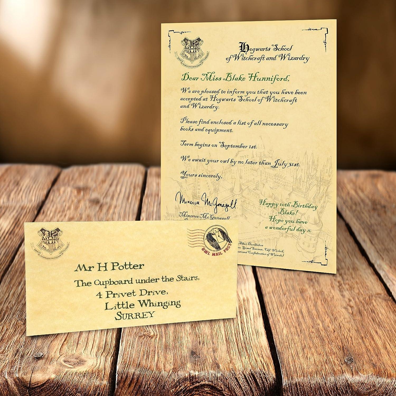 Personalised Hogwarts Acceptance Letter Harry Potter Amazoncouk